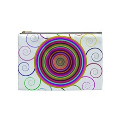 Abstract Spiral Circle Rainbow Color Cosmetic Bag (medium)