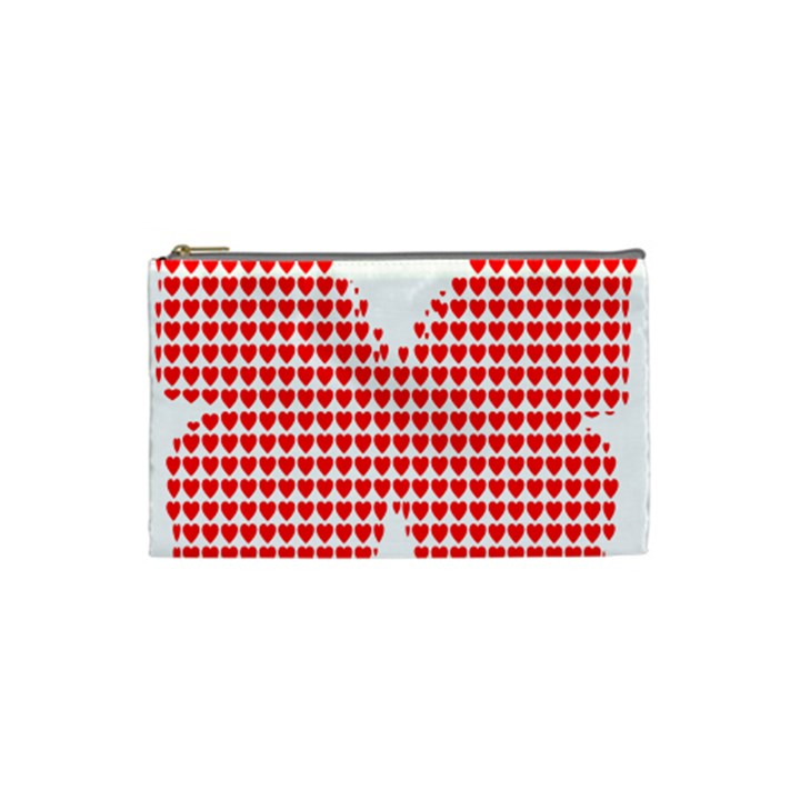 Hearts Butterfly Red Valentine Love Cosmetic Bag (Small)