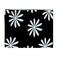 Black White Giant Flower Floral Cosmetic Bag (xl) by Alisyart