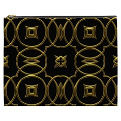 Black And Gold Pattern Elegant Geometric Design Cosmetic Bag (xxxl)  by yoursparklingshop