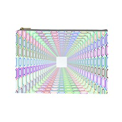 Tunnel With Bright Colors Rainbow Plaid Love Heart Triangle Cosmetic Bag (large)  by Alisyart
