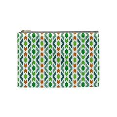 Chevron Wave Green Orange Cosmetic Bag (medium)  by Alisyart
