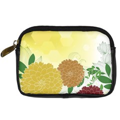 Abstract Flowers Sunflower Gold Red Brown Green Floral Leaf Frame Digital Camera Cases