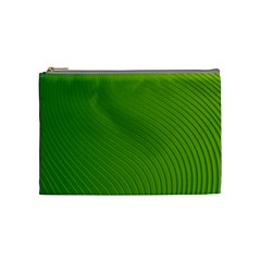 Green Wave Waves Line Cosmetic Bag (medium)  by Alisyart