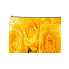 Yellow Neon Flowers Cosmetic Bag (large)  by Simbadda