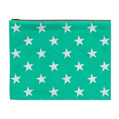 Star Pattern Paper Green Cosmetic Bag (xl) by Alisyart