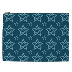 Star Blue White Line Space Cosmetic Bag (xxl)