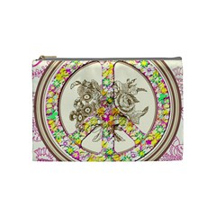 Peace Logo Floral Pattern Cosmetic Bag (medium)  by Simbadda