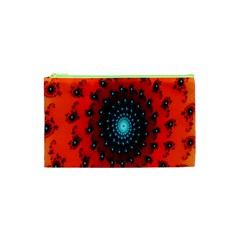 Red Fractal Spiral Cosmetic Bag (xs)