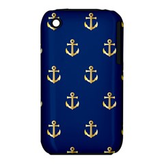Gold Anchors On Blue Background Pattern Iphone 3s/3gs by Simbadda