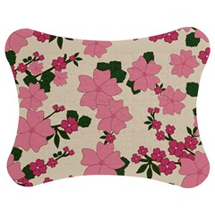 Vintage Floral Wallpaper Background In Shades Of Pink Jigsaw Puzzle Photo Stand (bow) by Simbadda