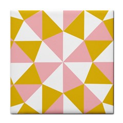 Learning Connection Circle Triangle Pink White Orange Tile Coasters