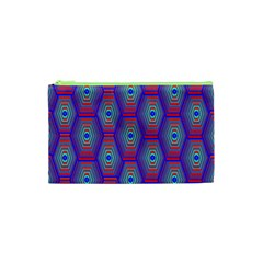 Red Blue Bee Hive Pattern Cosmetic Bag (xs)