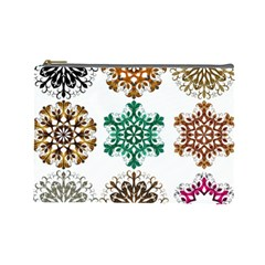 A Set Of 9 Nine Snowflakes On White Cosmetic Bag (large)