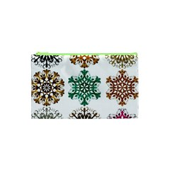 A Set Of 9 Nine Snowflakes On White Cosmetic Bag (xs) by Amaryn4rt