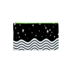 Black And White Waves And Stars Abstract Backdrop Clipart Cosmetic Bag (xs) by Amaryn4rt