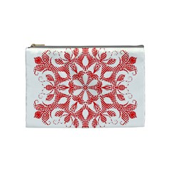 Red Pattern Filigree Snowflake On White Cosmetic Bag (medium)  by Amaryn4rt