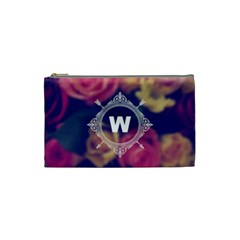 Vintage Monogram Flower Vintage Monogram Flower Cosmetic Bag (small)  by strawberrymilkstore8