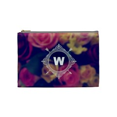 Vintage Monogram Flower Vintage Monogram Flower Cosmetic Bag (medium)  by strawberrymilkstore8