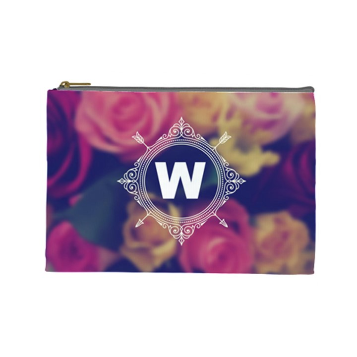 Vintage Monogram Flower Vintage Monogram Flower Cosmetic Bag (Large)