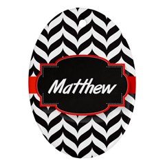 Pattern Black 1 Ornament (oval)