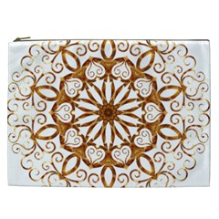Golden Filigree Flake On White Cosmetic Bag (xxl)