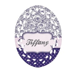 Pattern Purple 2 Oval Filigree Ornament (two Sides)