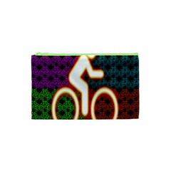 Bike Neon Colors Graphic Bright Bicycle Light Purple Orange Gold Green Blue Cosmetic Bag (xs) by Alisyart