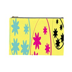 Easter Egg Shapes Large Wave Green Pink Blue Yellow Black Floral Star Cosmetic Bag (large)  by Alisyart