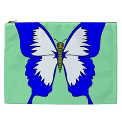Draw Butterfly Green Blue White Fly Animals Cosmetic Bag (xxl)  by Alisyart