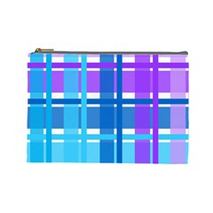 Gingham Pattern Blue Purple Shades Sheath Cosmetic Bag (large)  by Alisyart