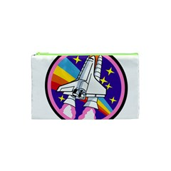 Badge Patch Pink Rainbow Rocket Cosmetic Bag (xs) by Amaryn4rt