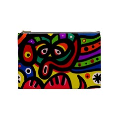 A Seamless Crazy Face Doodle Pattern Cosmetic Bag (medium)  by Amaryn4rt