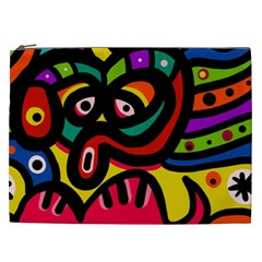 A Seamless Crazy Face Doodle Pattern Cosmetic Bag (xxl)  by Amaryn4rt