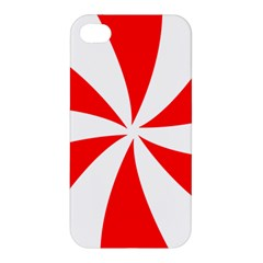 Candy Red White Peppermint Pinwheel Red White Apple Iphone 4/4s Premium Hardshell Case