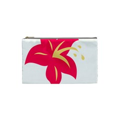 Flower Floral Lily Blossom Red Yellow Cosmetic Bag (small)  by Alisyart