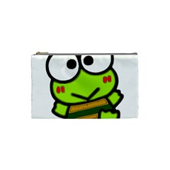 Frog Green Big Eye Face Smile Cosmetic Bag (small)  by Alisyart