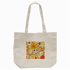 Cute Fall Flower Rose Leaf Star Sunflower Orange Tote Bag (cream)