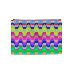 Dna Early Childhood Wave Chevron Woves Rainbow Cosmetic Bag (medium)  by Alisyart