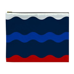 Wave Line Waves Blue White Red Flag Cosmetic Bag (xl) by Alisyart