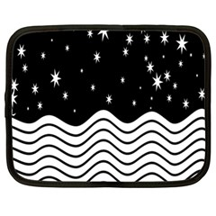Black And White Waves And Stars Abstract Backdrop Clipart Netbook Case (xl)