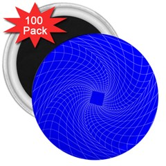 Blue Perspective Grid Distorted Line Plaid 3  Magnets (100 Pack)