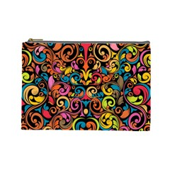 Chisel Carving Leaf Flower Color Rainbow Cosmetic Bag (large)