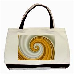 Golden Spiral Gold White Wave Basic Tote Bag
