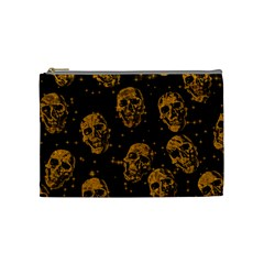 Sparkling Glitter Skulls Golden Cosmetic Bag (medium)  by ImpressiveMoments