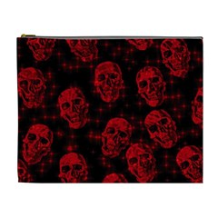 Sparkling Glitter Skulls Red Cosmetic Bag (xl) by ImpressiveMoments