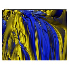 Blue And Gold Fractal Lava Cosmetic Bag (xxxl)  by Simbadda