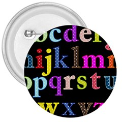 Alphabet Letters Colorful Polka Dots Letters In Lower Case 3  Buttons by Simbadda