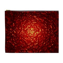 Abstract Red Lava Effect Cosmetic Bag (xl)
