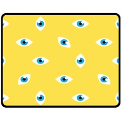 Eye Blue White Yellow Monster Sexy Image Double Sided Fleece Blanket (medium)